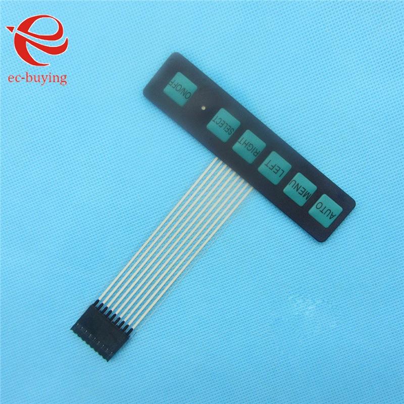 2PCS 1x6 6 Key Matrix Membrane Switch Keypad Keyboard Control Panel Super Slim with LED
