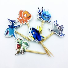 24pcs Under Water Ocean Many Kinds of Fish Shark Cupcake Topper pick Boy birthday Party Supplies Kids Favor Cake Decoration flag(China)