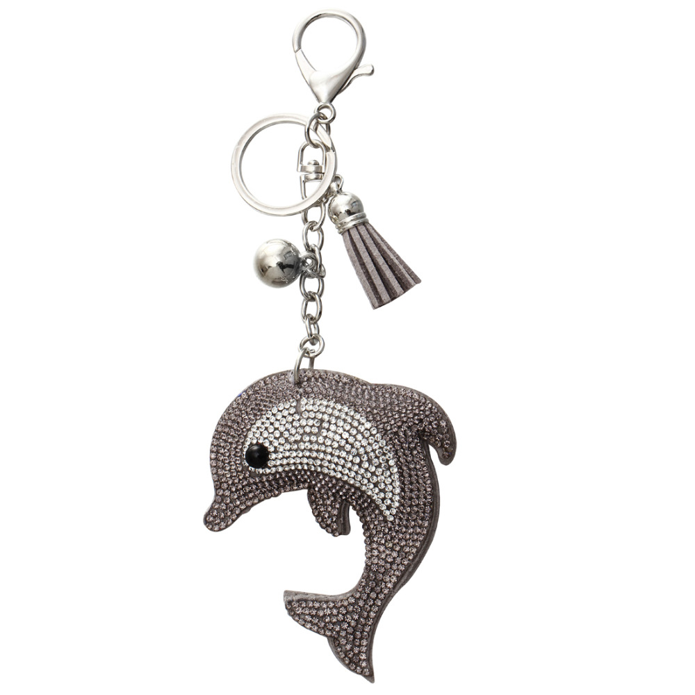ZOSHI Charm Fashion Key Chain for Keys Dolphin Pendant Leather Rhinestone Key Cover Ring Finder Wholesale