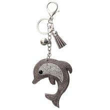 Zoshi очарование моды брелок для ключей дельфин подвеска кожа горный хрусталь ключ крышка кольцо finder оптовая сумка автомобилей keychians подарок