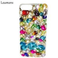 Laumans DIY iphoneX Temizle PC için Renkli Kristal Elmas Rhinestone Telefon Kılıfı 4 s 5 s 5c için kapak Koruma SE 6 6 s 7 8 artı