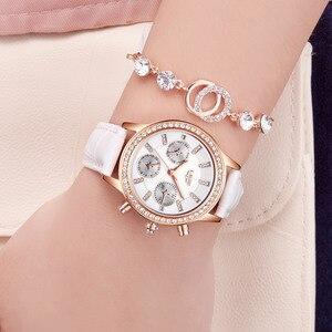 Image 1 - Relogio feminino Women Watches LIGE Luxury Brand Girl Quartz Watch Casual Leather Ladies Dress Watches Women Clock Montre Femme