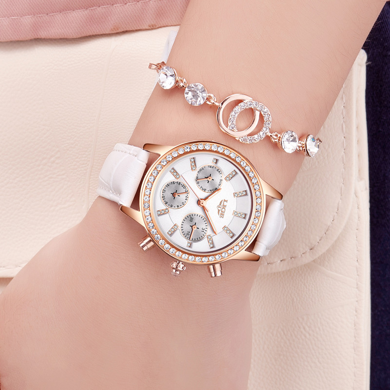 Marca de Luxo Relógio de Quartzo Senhoras de Couro Relógio Feminino Relógios Femininos Lige Menina Casual Vestido Montre Femme
