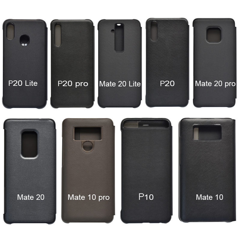 PU Leather Hard Window View Flip Case for Huawei P10 P20 P30 Pro lite Mate 20 Lite Mate 30 Pro 5