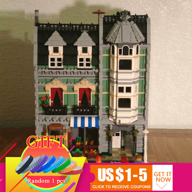 15008 2462Pcs City Street Green Grocer set Compatible with 10185 Model Educational Building Blocks children DIY Toys цена