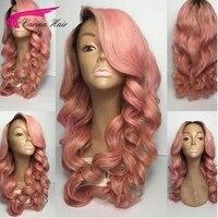 Карина Ombre розовый цвет Синтетические волосы на кружеве человеческие волосы парик с ребенком волос предварительно сорвал волосяного покро