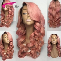 Carina Ombre Pink Color Lace Front Human Hair Wig with Baby Hair Pre Plucked Hairline Remy Hair Brazilian Loose Wave