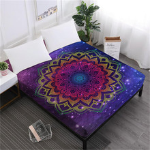 Colorful Mandala Bed Sheet Tie Dyeing Fitted Bohemia Elephant Hamsa Hand Print Bedding Twin King Queen Deep Pocket D35