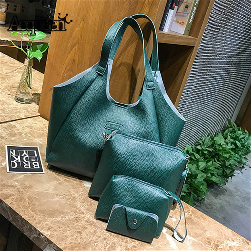 AEQUEEN 4pcs Women Green Handbags PU leather Vintage Shoulder Bag Female Small Clutch Card Holder Purses Totes Bag Set Bolsas hot sale pu leather bag for women vintage chinese fusion style floral embossed ladies handbags female totes clutch bag hq1062