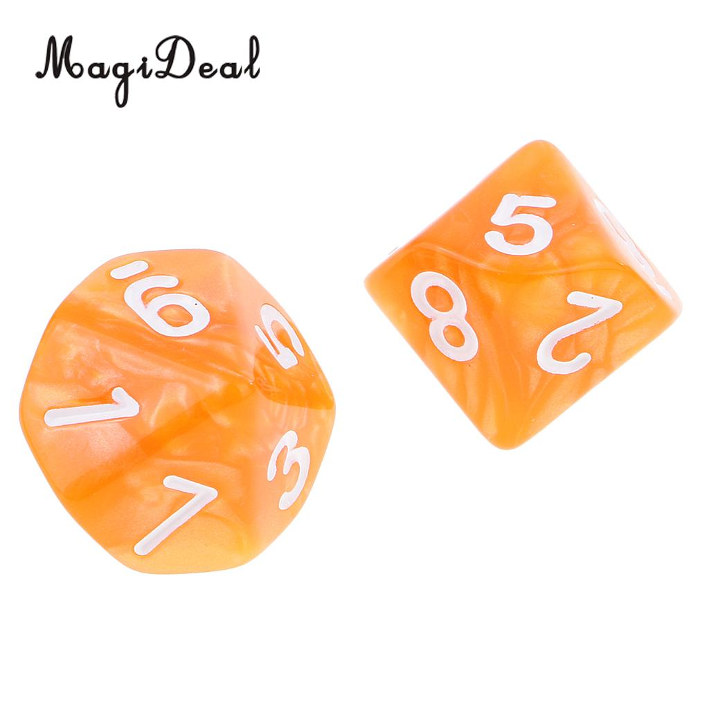 MagiDeal Brand New 10Pcs Acrylic 10 Sided Dice D10 Polyhedral Dice for Table Games Dungeons Dragons Game Education School Supply