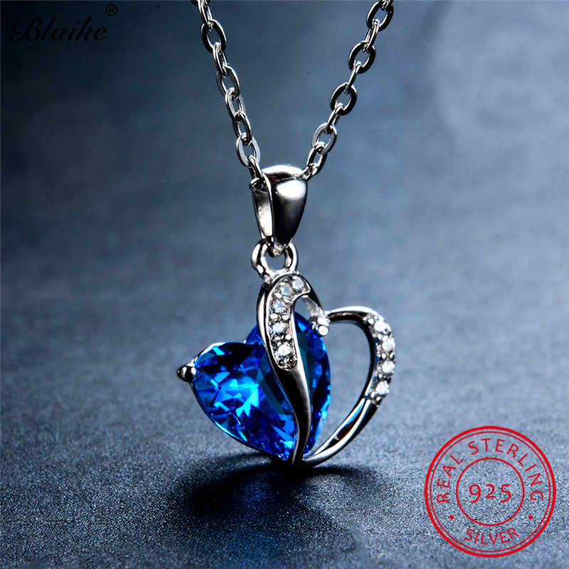 Blaike Solid 925 Sterling Silver Heart Pendant Necklaces For Women Zircon Sapphire Aquamarine Amethyst Topaz Birthstone Necklace