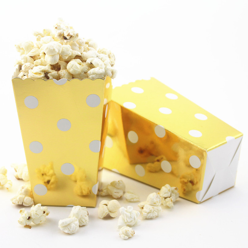 12pcslot goldsilver popcorn boxes for baby shower birthday wedding theatre snake food