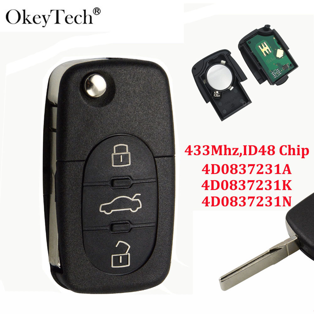 OkeyTech Remote Switch Key For Audi A3 A4 A6 A8 B5 TT RS4 Quattro Old Models 433Mhz ID48 Chip Flip Folding HU66 Blade 4D0837231A