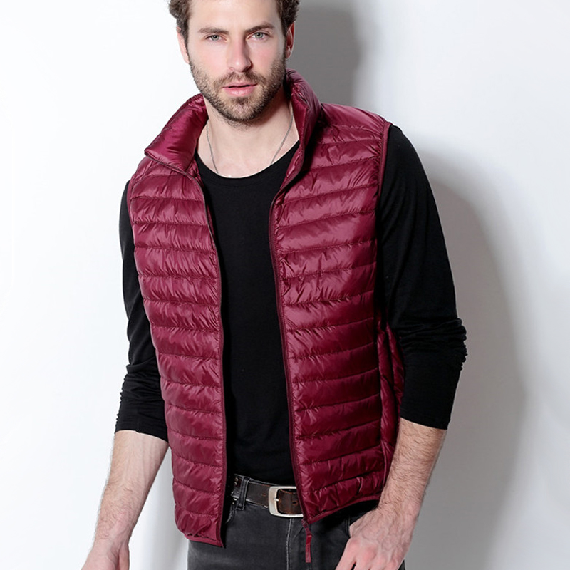 2018 New Spring Autumn Fashion Light Thin   Down   Vests Men Stand Collar Sleeveless   Down     Coats   Casual Solid Slim Jackets Vest Mw391