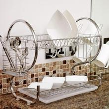 2 שכבות צלחת ייבוש Rack מחזיק סל מצופה ברזל בית כביסה נהדר מטבח כיור מייבש כלים ייבוש Rack ארגונית