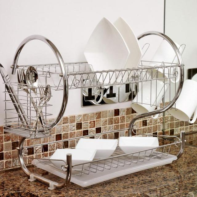 2 段食器乾燥ラックホルダーバスケットメッキ鉄ホーム洗濯偉大なキッチンシンク水切り乾燥ラックオーガナイザー