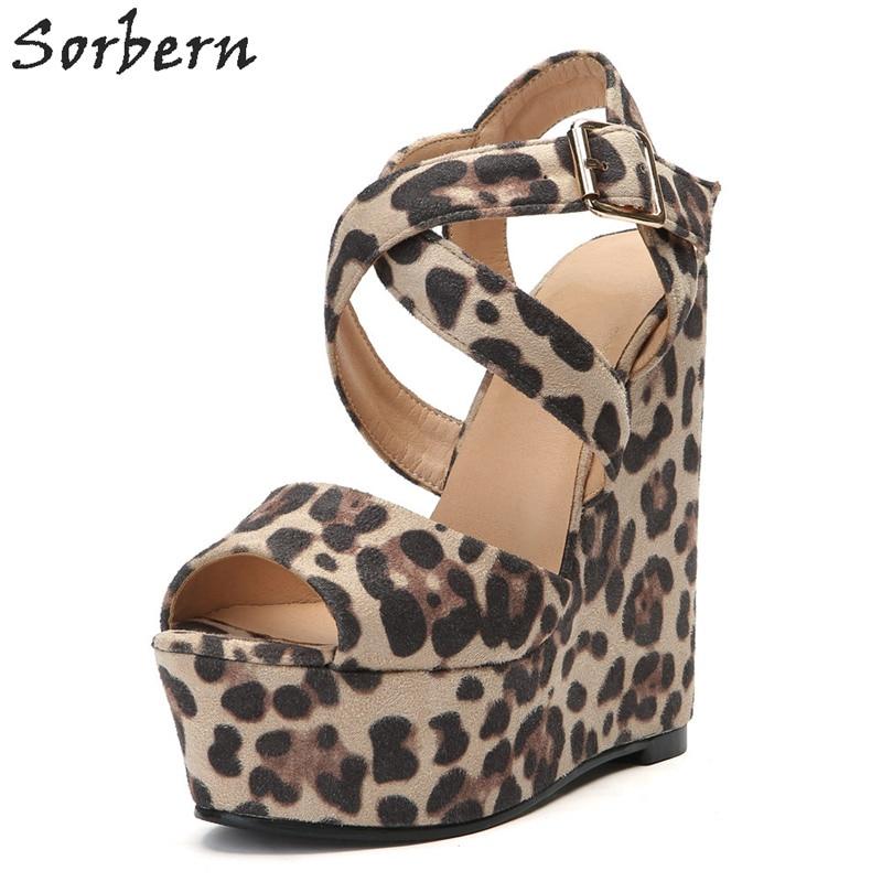 Sorbern с леопардовым принтом Повседневная обувь на танкетке; босоножки на высоком каблуке Для женщин открытым открытый носок, поперечные реме... - 5