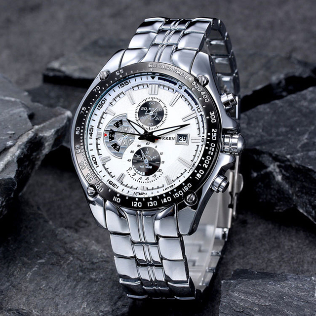 ساعة عصرية من CURREN مصنوعة من الفولاذ المقاوم للصدأ بالكامل للرجال ساعات يد عسكرية عسكرية من الكوارتز للرجال مقاومة للماء 30 متر 8083