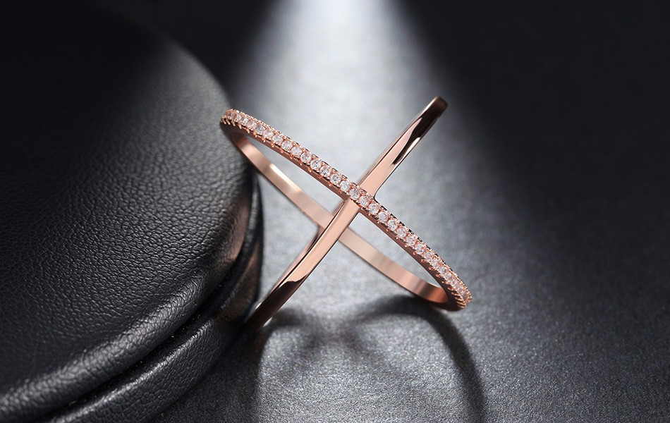 Effie Queen New Big Cross Zircon Ring Fashion Female Jewelry Infinity Sign Women Rose Gold Rings for Party free Shipping DR66 11