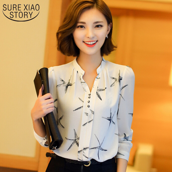 a836ba8f36b 2017 Spring New Arrival womens chiffon blouse ladies White elegant sexy v  neck blouses plus size female office shirt 585A 35-in Blouses   Shirts from  ...