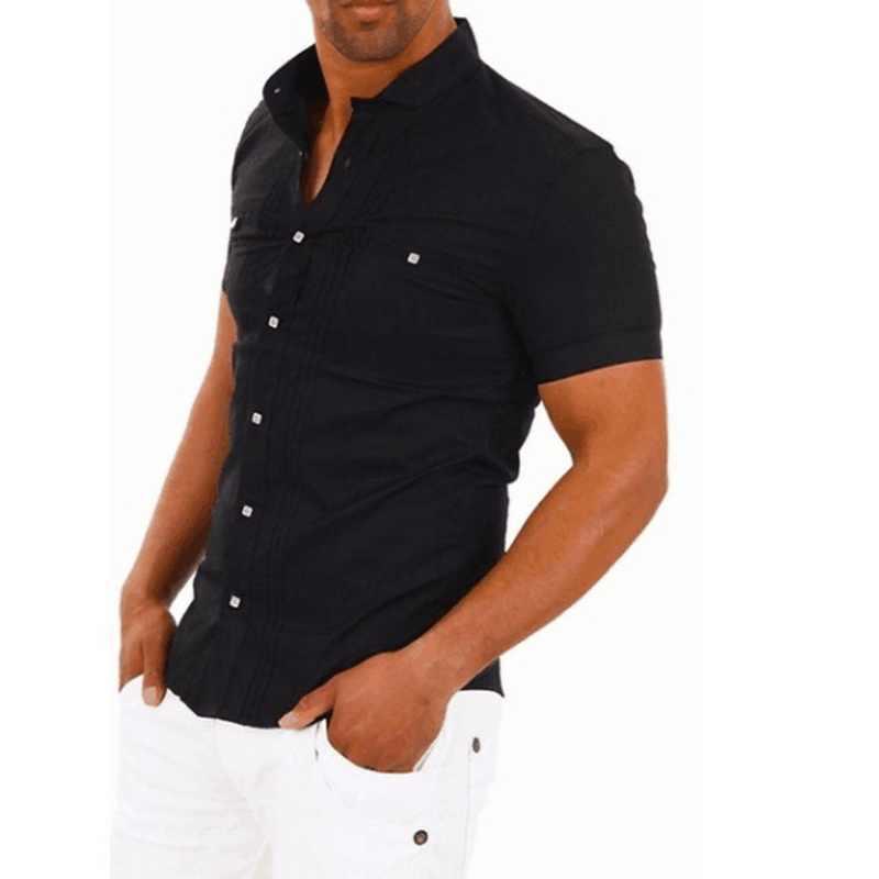 WENYUJH ブランドのメンズ半袖シャツスリムフィットブラックホワイトシャツスタンドカラーパッチワークカジュアルビジネスシャツ 2019 男性夏トップ