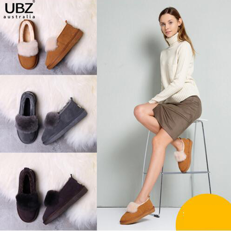 UBZ Brand Free Shipping Hot Sale Women Snow Women Boots  Genuine Cowhide Leather Ankle Boots Warm Winter Boots Woman Shoes ubz free shipping women s genuine high quality snow boots sheepskin leather 100