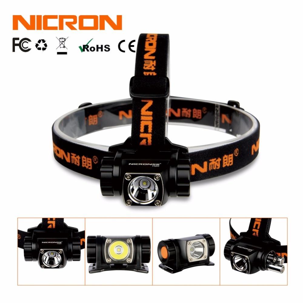 NICRON Classical Super <font><b>Brightness</b></font> Aluminum Head Lamp 380Lm 150M Waterproof Flashlight Headlight Torch Lighting Outdoor Use H20