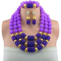 Nigeria bridal Wedding african beads jewelry set 2017 statement purple cool necklace sets for women beads making choker