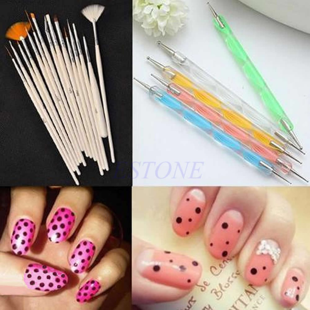 Hot Sale 15Pc Nail Art Design Brushes + 5Pc Dotting Painting Drawing ...