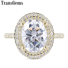 Transgems Luxury Solid 14K 585 Yellow Gold Center 3ct 8X10mm FG Color Oval Moissanite Double Halo Engagement for Women Wedding