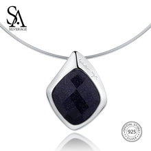 SA SILVERAGE Necklaces Fine Jewelry For Women 925 Sterling Silver Choker Necklace Black Aventurine Chocke 12.58g/45mm*30mm sa silverage women rose gold pendant necklace fine jewelry real 925 sterling silver diamond necklaces for women
