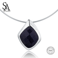 SA SILVERAGE 925 Sterling Silver Choker Necklace Black Aventurine Chocker Necklaces Fine Jewelry For Women 12.58g/45mm*30mm