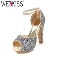 WETKISS 2018 Ankle Strap Super High Heels Women Sandals Bling Peep Toe Footwear Fashion Platform Bridal