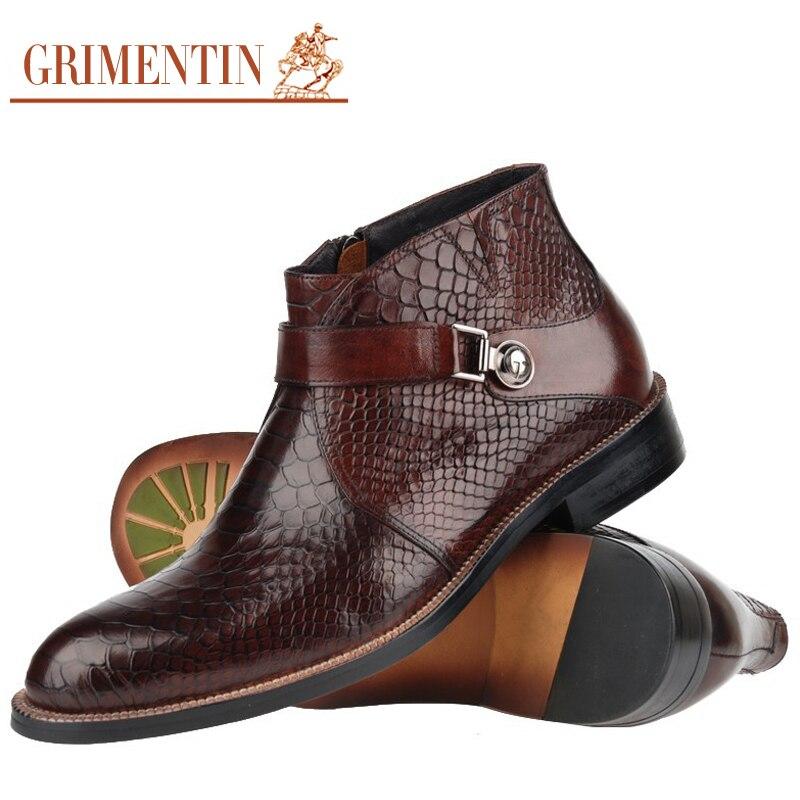 d76bc122515 🛒 GRIMENTIN men boots genuine leather Italian black brown fashion ...