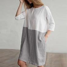 KANCOOLD dress Women Casual Patchwork 1/2 Sleeved Cotton Linen Dress