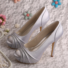 Wedopus MW1602 Новый Стиль Пищу Пальцами Дамы Свадебные Туфли На Каблуках Свадебная Обувь Атласная Дропшип
