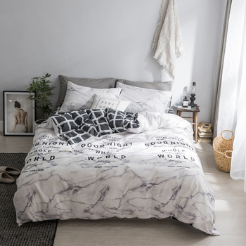 Nordic style Black-and-white stone pattern 100% Cotton Bedding set 4Pcs twin full Queen King size Duvet cover Bed sheet set Gift