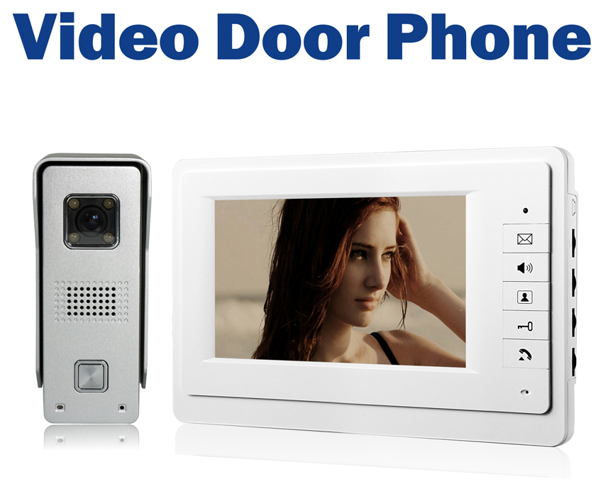Wired Video Door Phone Doorbell Intercom System Camera LEDs Night Vision 7 LCD Monitor