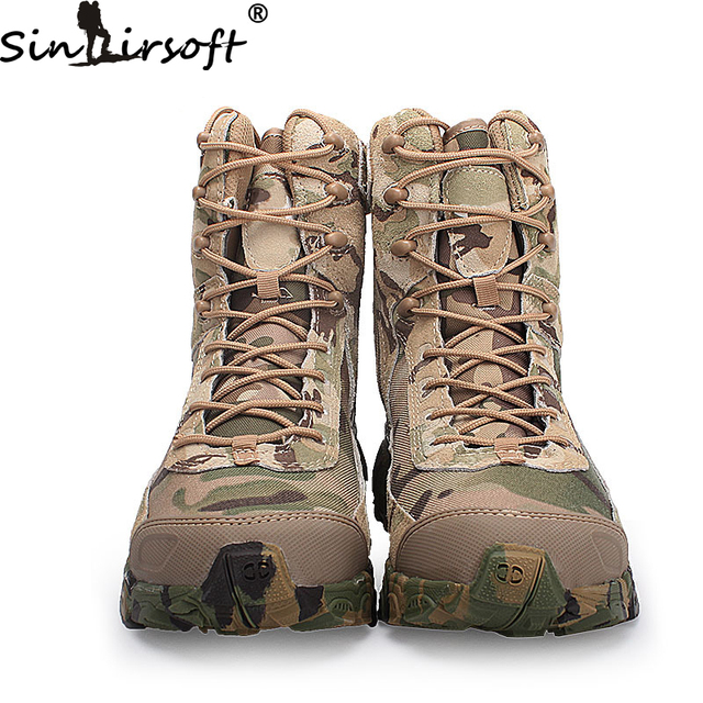 SINAIRSOFT Genuine Leather Outdoor Sport Army Men's Tactical Boots CP Camo Male Combat winter sneak Military Boots Hiking Shoes