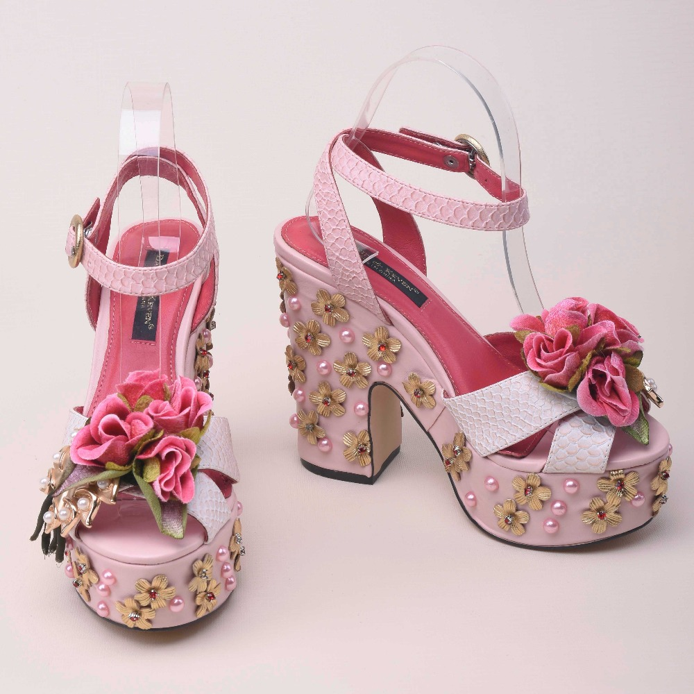 2018 newest beautiful pink flower decorations platform sandal for woman open toe crystal rivets thick heels summer sandal white 2017 summer newest colorful flower decorations wedge sandal sexy pvc patchwork open toe platform slippers