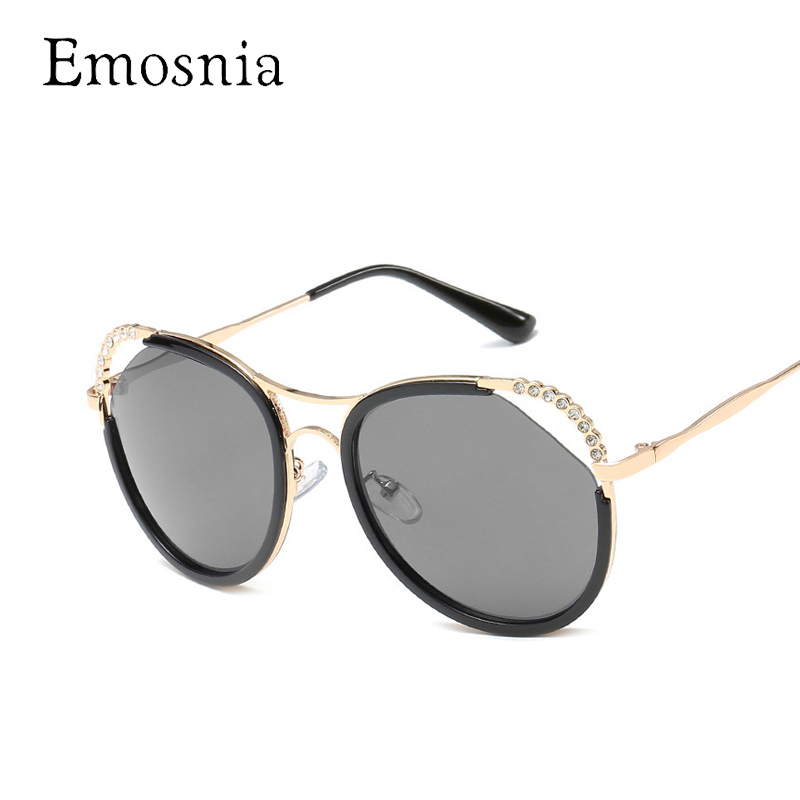 Emosnia Rhinestone Luxury Women Sunglass 2018 Fashion Cateye Round Brand Design Sunglasses Aviator Hollow Oculos De Sol Feminino