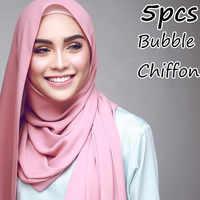 H8 5pcs High Quality Plain Bubble Chiffon hijab scarf Shawls Headbands Popular Hijab Summer Muslim Scarfs 10pcs/lot