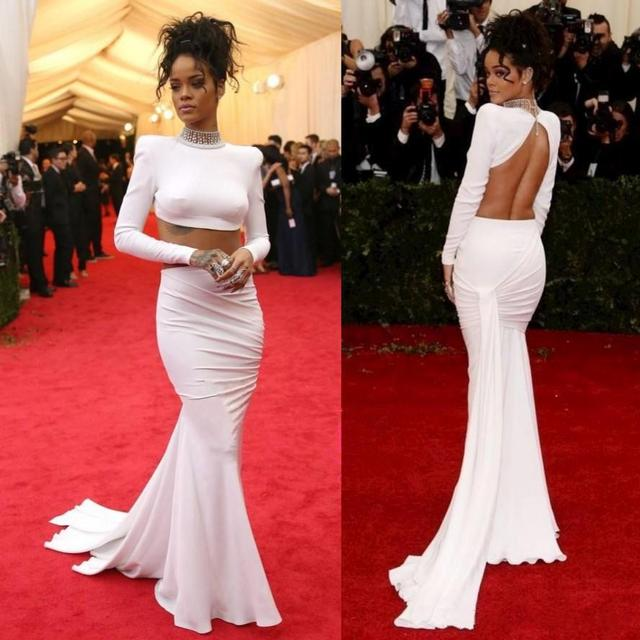 2017 Two Piece Backless Evening Dress beading Met Gala Rihanna Long ...