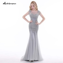 Grey Sequined Beaded Evening Dresses Long Evening Gowns Prom Gown Robe de Soiree Vestido de Festa