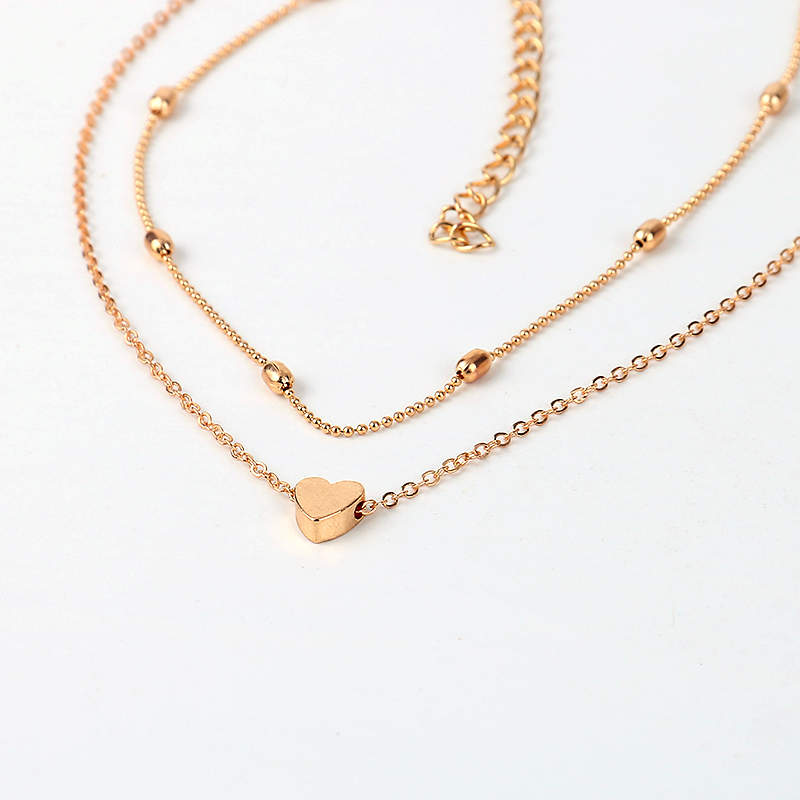 LWONG Simple Gold Silver Color Layered Chain Choker Necklace for Women Dainty Beaded Chain Tiny Heart Necklaces Chokers Jewelry 9
