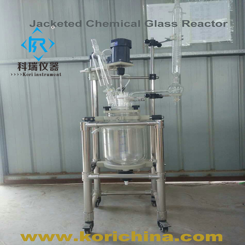 PTFE sealing glass reactor with Condenser Vacuum pyrolysis 5L lab Use Bioreactor 10l batch glass reactor glass lined jacketed reactor vessel for chemicaland pharmaceuticals industry with condenser with ptfe