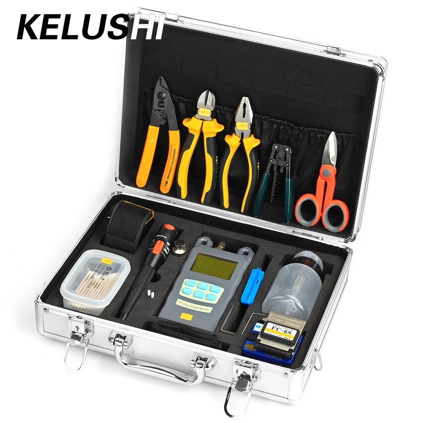 KELUSHI 24 IN 1 Kit de instrumente din fibră optică Contor de putere optică FC-6S Fieber Stripper Clier Clever 10 Fibre vizuale