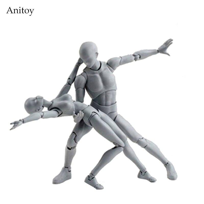 SHF BODY KUN/BODY CHAN body-chan body-kun Grey Color Ver. Jouet à collectionner en PVC noir