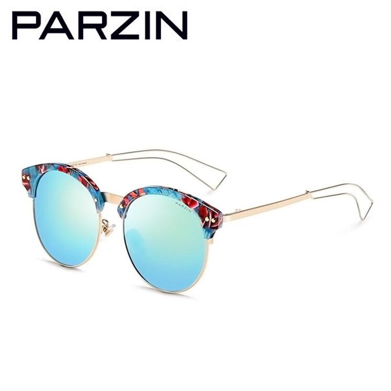 Parzin Polarized Sunglasses Women Vintage Female Sun Glasses Colorful Ladies Shades Black With Case 9660 chuangwai female sunglasses yurt polarizer female influx of 2015 women round colorful sunglasses cw10002