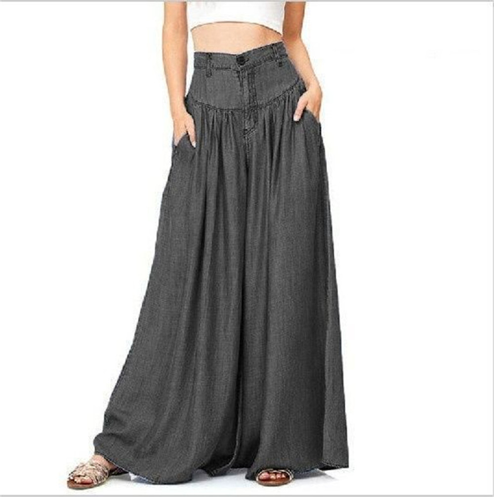 Causal 2019 Women Summer Loose   Pants   Blue Black Long Plus Size Trousers High Waist   Wide     Leg     Pants